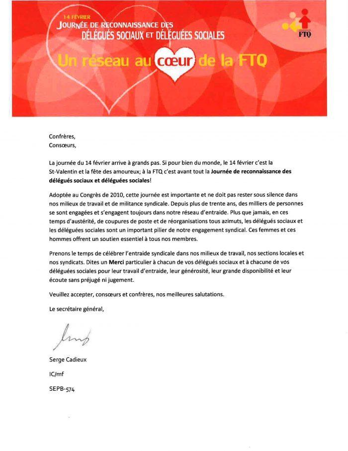 Lettre de Serge Cadieux