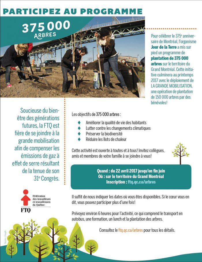 Participez au programme 375000 arbres